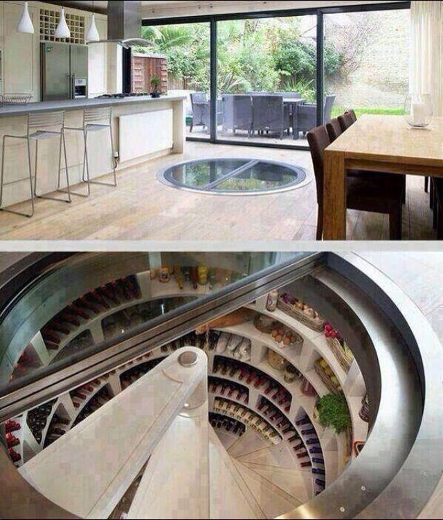 Underground walk-in refrigerator.