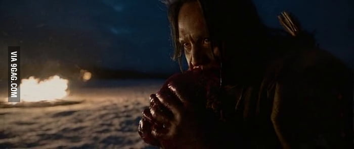 Why the hell are you eating raw meat when you have a fire 4 meters away. Wtf? (The Revenant)