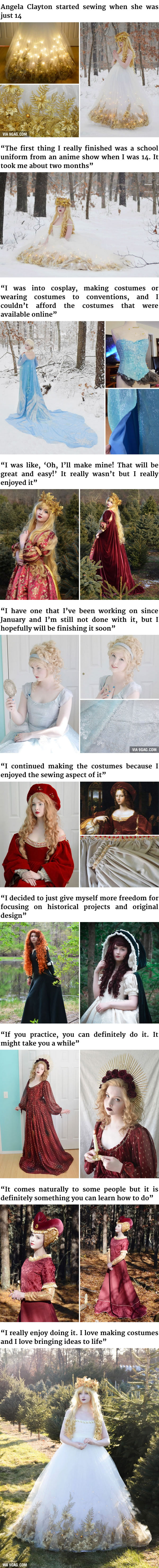 18-Year-Old Girl Sews Incredible Dresses That Look Straight Out Of A Disney Movie