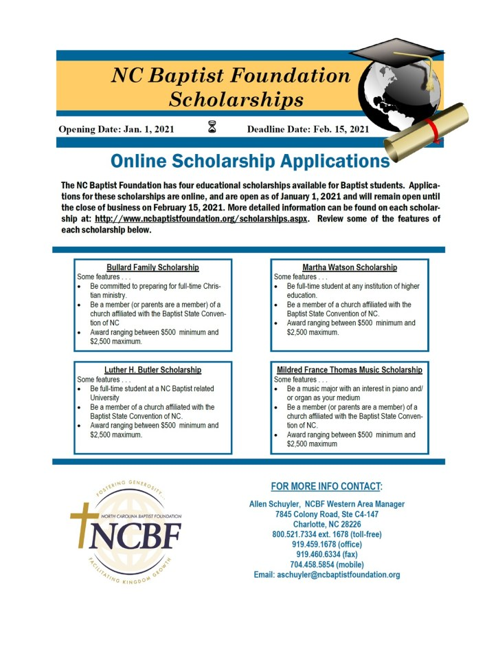 NC Baptist Foundation Scholarships 2021 3