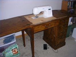 How to Convert an Old Sewing Cabinet or Table to Hold a