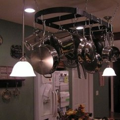 Kitchen Pot Racks Slate Backsplash In How To Hang A Rack And Lights Over Island Ehow