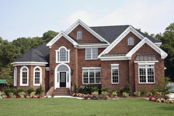 landscape red brick home