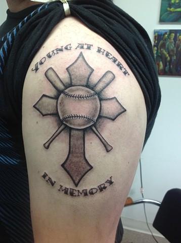 Baseball Cross Tattoo : baseball, cross, tattoo, Adam's, TATTOOS, PIERCINGS