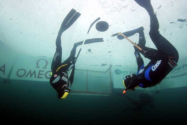 4. Underwater Upside-Down Ice Hockey