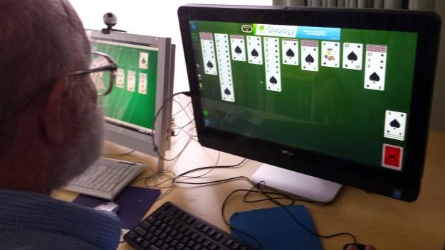 2) Having fun on computers at work