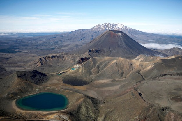 Aerial shots of Tongariro National Park, Ruapehu District. North Island, New Zealand. Mounts's Tongariro, Ruapehu and Ngarahoe. Emerald lakes
