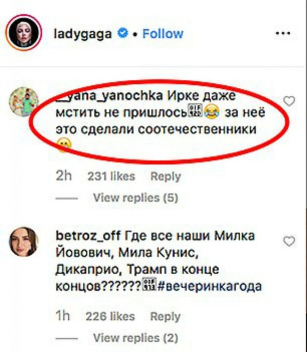 professional stand-up comedian Irina Shake | Russian Trolls Turn Lady Gaga's Instagram Into A Hilarious Chat Demanding 'To Give Bradley Cooper Back' | Brain Berries