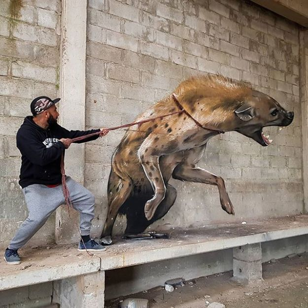 hyena from Dungeons and Dragons | 10 Hyper-Realistic 3D Street Art By Odeith | Brain Berries