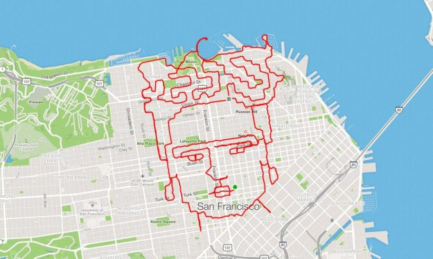 runner Lenny Maughan Frida Kahlo | San-Francisco Runner Creates Art Just By Jogging Around | Brain Berries