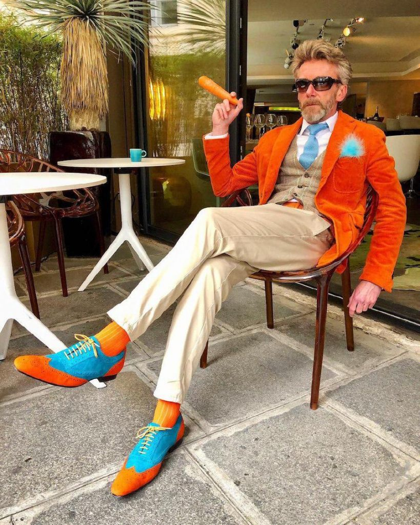 Orange and turquoise is such a brave combo for men | 12 Classiest Yet Fun OOTD You've Ever Seen From Pierrick Mathon | Her Beauty