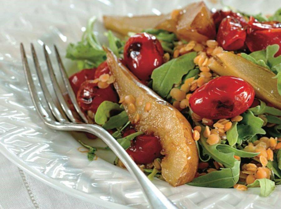 Теплый салат с грушей, чечевицей, печеными томатами и кленовым сиропом   Что приготовить с грушей? 10 интересных рецептов   Her Beauty