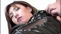 Hitomi Ikeno in fishnets has hairy slit fucked hard after blowjob