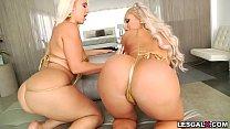 Big ass blonde babes love lesbian anal fuck