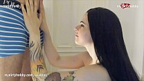 Fit brunette goth teen takes cock deep in her throat!