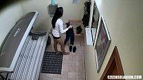 Czech Solarium - Brunette Girl Caught on Hidden Cam