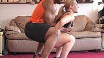 Black Man workout white girl