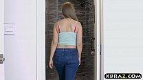 Big natural tits client fucks her big dick masseur