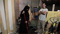 TOUROFBOOTY - Muslim Woman Sweeping Floor Sucks American Soldier's Big Dick And Fucks