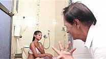Hot Latino showers and relaxes