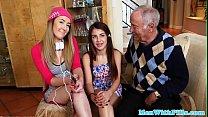 Gorgeous teens share geriatrics cock