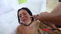Hot nympho Amanda Black ass smashed by 4 Big cocks   4 Facials