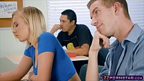 Bokep Schoolroom threesome with busty teacher and schoolgirl