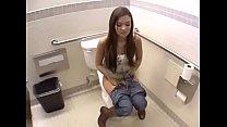 Public bathroom sex with hot brunette