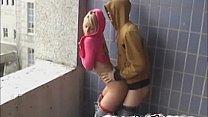 beauty blond teen fuck on balcony