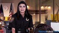 Cop gets her feet cumshot
