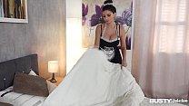 Busty seduction in a maid costume Krystal Webb masturbates on hotel room bed