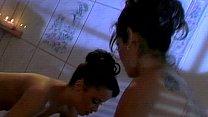 Horny lesbians fuck in hot tub