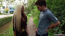 German Amateur - Tight Tini wird beim spazieren von einem User angesprochen und gleich mit genommen zum Userdreh