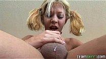 skinny blonde teen gets to gag a huge cock