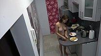 Czech girl nude cooking, hidden camera at home