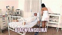 Slutty nurse Black Angelika fucks in the hospital bed