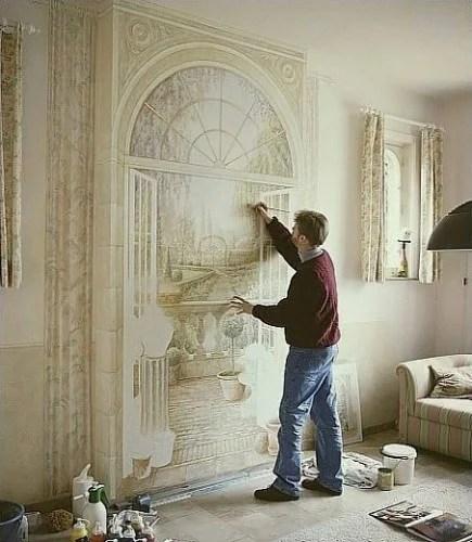 3 d трехмерная роспись на стене в интерьере