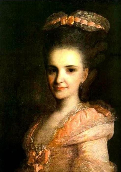 В 1770-х в моде были очень высокие прически.
