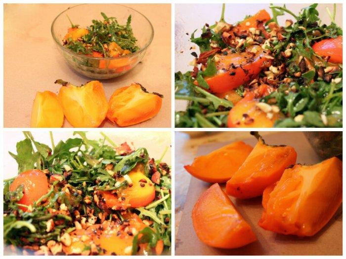 Салат из рукколы с хурмой