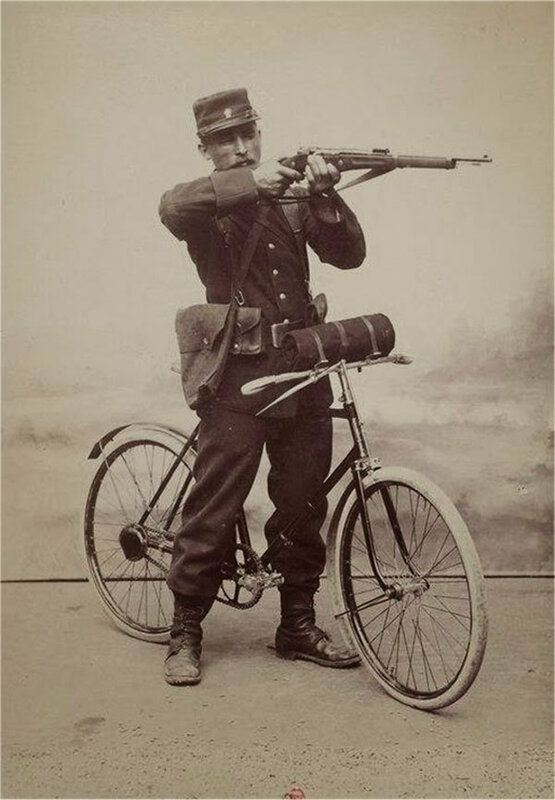 1896 France Soldier And His Badass Gladiator Folding Bicycle.jpg