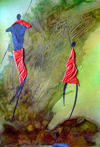 Бернард Ндиху Нджугуна. Наскальные рисунки.