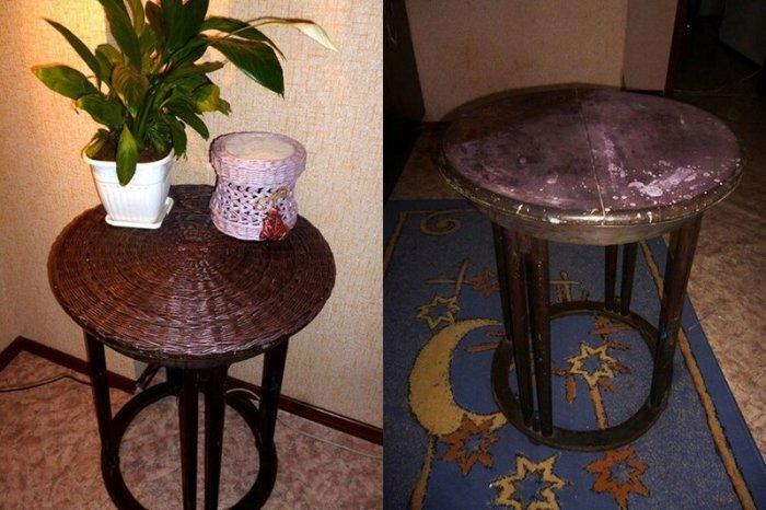 Новая жизнь старого кофейного столика (плетеная столешница)