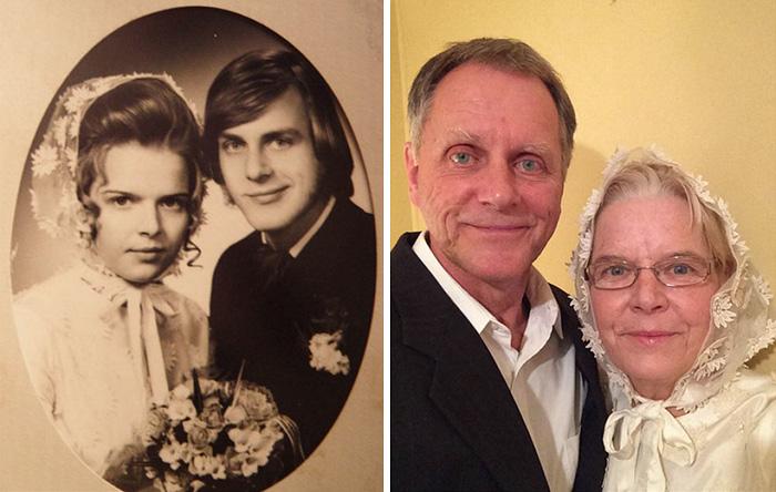 Фото справа сделано спустя 44 года после свадьбы, но платье невесты ей еще впору.