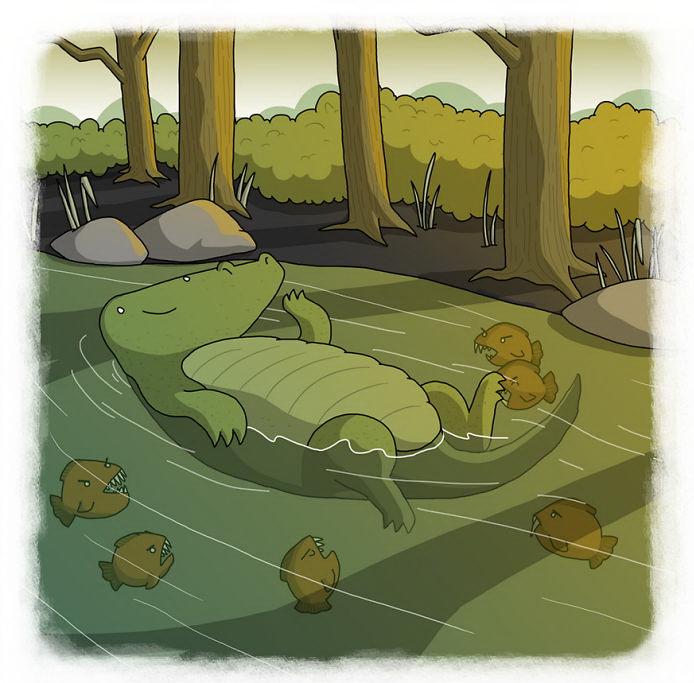 В реке, полной пираний, даже крокодил плывёт на спине (бразильская пословица)