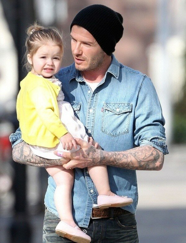 Дэвид Бекхэм с младшей дочкой Харпер
