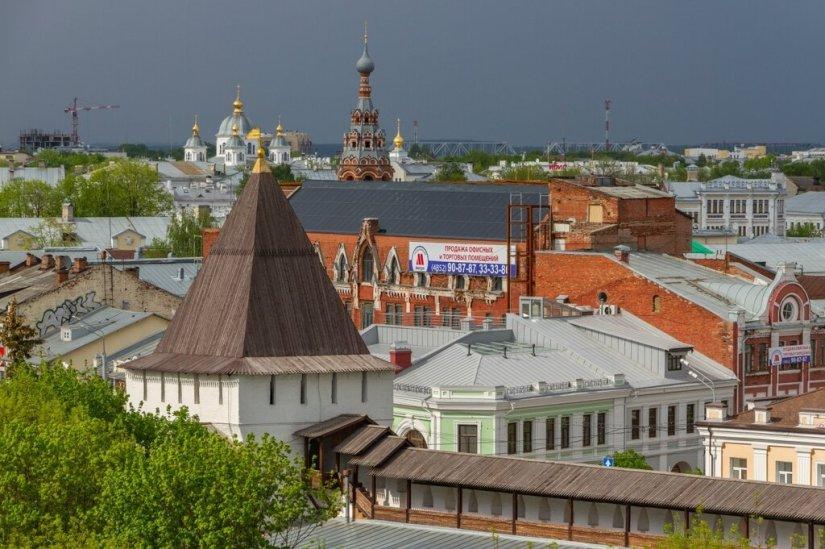 Панорама Ярославля - храм Сретения Господня, Казанский собор