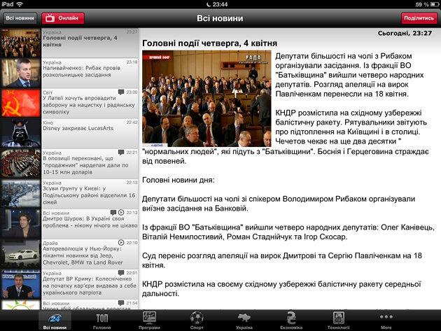Новости 24 Новини 24 для iPhone и iPad