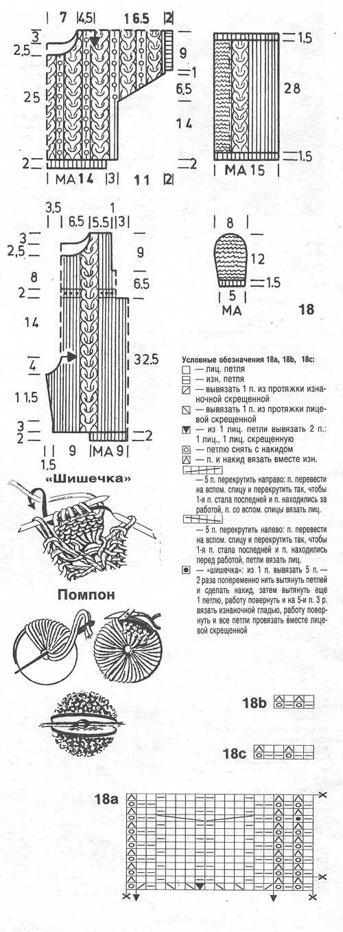 Схема и выкройка пуловера, комбинезона и шапочки для ребенка от 6 месяцев до года