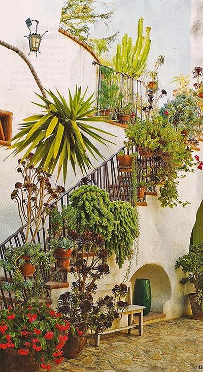 озеленение балкона лестницы дизайн растениями
