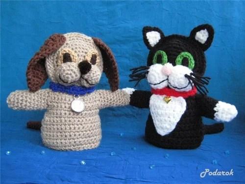 вязаные игрушки-перчатки для детей